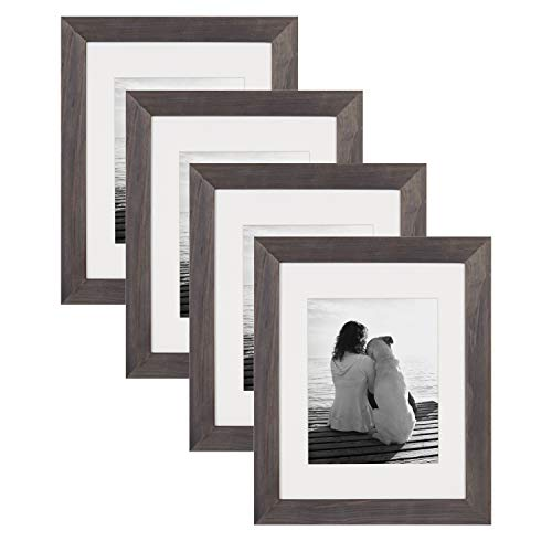 3098eac1aba1 DesignOvation Museum Wooden Traditional Picture Frame Set with Mats for  Customizable Wall Display