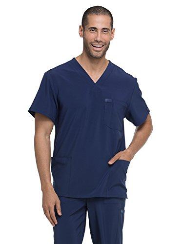 dickies EDS Essentials Men's V-Neck Scrub Top, L, Navy (Dickies Scrub Top Unisex)