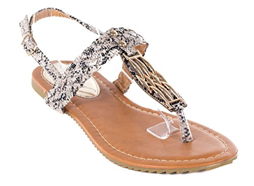 Victoria K Women Gladiator Sandals, Grey Braided Thong Flats, 8 by Victoria