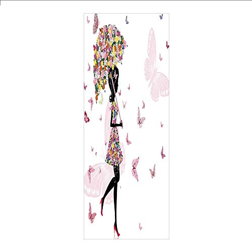 3D Decorative Film Privacy Window Film No Glue,Girls,Girl with Floral Umbrella and Dress Walking with Butterflies Inspirational Art Print,Pink Black,for Home&Office
