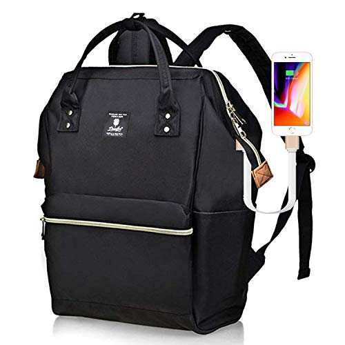 DEARFUN Laptop Backpack Casual Daypack Wide Opening 15.6'' Laptop Bag Water Repellent Nylon Business Bag with USB Charging Port for Women&Men, Lightweight Travel Backpack for College/Travel/Business by DEARFUN