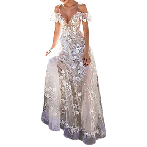 Howley Dress Women Sexy V-Neck Ball Gown Lace Hollow Backless Maxi Wedding Skirt Long Party Elegant Dress (White, XL) ()