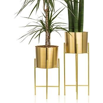 Amazon Com Set 2 Modern Mid Century Brass Gold Planters