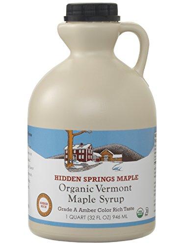 (Hidden Springs Organic Vermont Maple Syrup, Grade A Amber Rich, 32 Ounce, 1 Quart, Family Farms, BPA-free Jug)