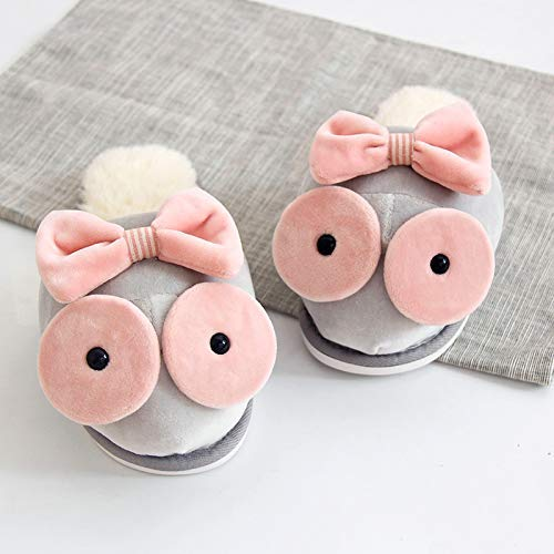 Color : Grey, Size : 3 Multi-purpose male slippers female slippers Cotton slippers female winter indoor home thick bottom slip home warm couple cute cartoon does not include slippers winter