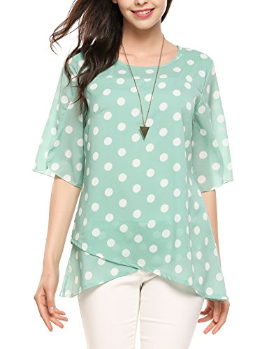 Polka Dot Chiffon Blouse - Zeagoo Women Loose Polka Dot Chiffon Layered Blouse With Flare Half Sleeve Green Dot L