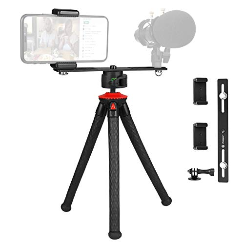 Fotopro Flexible Tripod, Vlog Tripod with Bluetooth Remote, Portable Camera Tripod, Phone Tripod for iPhone with Smartphone Tripod Mount, Tripode Phone for Samsung, Huawei, DSLR