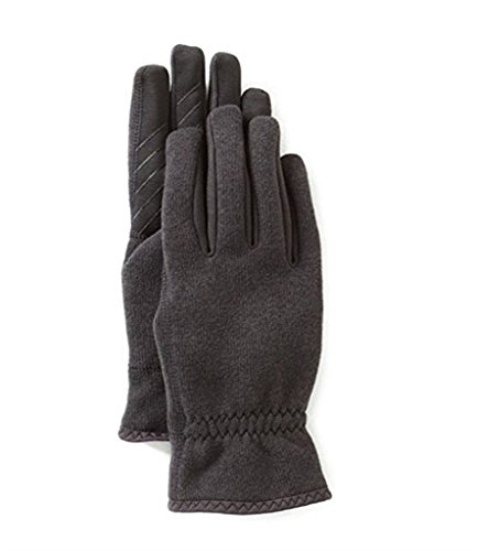 U/R Powered Men Ribbed Fleece Gloves black touch screen itouch faux fur lining (L/XL)