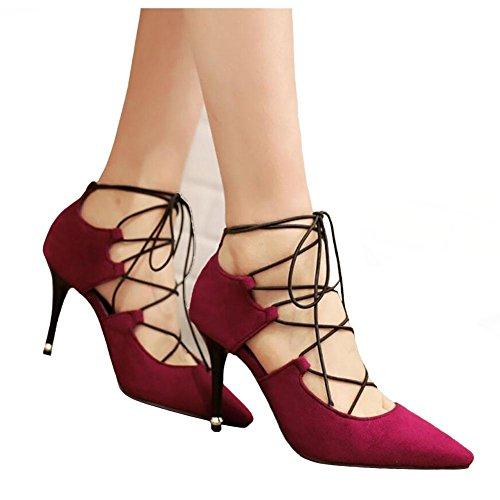 Femmes Automne Fashion Bandage en cuir suédé Véritable Pointu Chaussures à talons hauts , red , 36