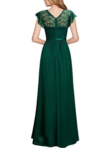 Verde Coctel Elegante da 1 Chiffon Pizzo Lunghe Vestito Donna MIUSOL A8nqTfPq