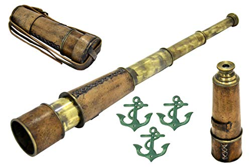 Brass Nautical Pirate Telescope Replica, 18 inches, Complimentary: 3 Metal Anchor Wall Plaques