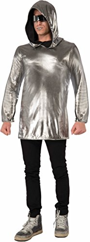 Womens Sexy Silver Futuristic Space Astronaut Alien Hoodie Costume Accessory (Space Alien Costume)