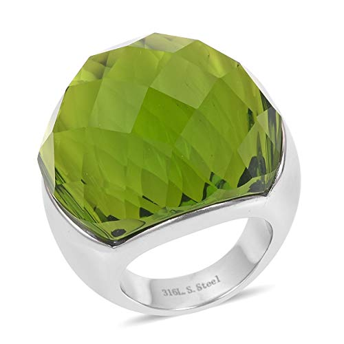 Stainless Steel Cubic Zirconia CZ Peridot Green Glass Cocktail Ring for Women Jewelry Gift Size 9 (Ring Cocktail Glass)