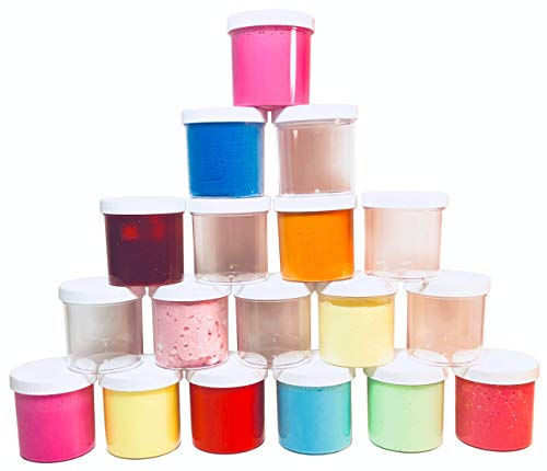 slime storage jars 6 oz (in 6, 12, and 18 packs) - clear all purpose containers - for all glue putty making - art, craft and hobby storage containers ... (18)