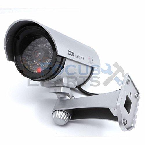 [Fashion Bullet IR Dummy Fake Security CCTV Surveillance Camera LED Sensor Light Sliver] (Dummy Costume Diy)