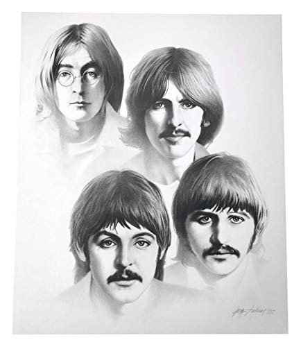 BEATLES 20X24 LITHOGRAPH BY ARTIST GARY SADERUP SIGNED POSTER PHOTO PAUL JOHN from Inscriptagraphs