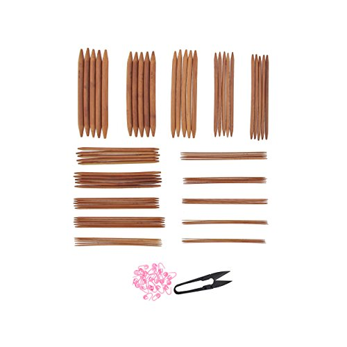 """BambooMN Brand - 75 Pieces - 5"""" Double Point Bamboo Knitting Needles Sets - 15 Sizes 2mm - 10mm (5 needles per size) - Carbonized Brown - Comes w/ Stitch Markers & Snip"""