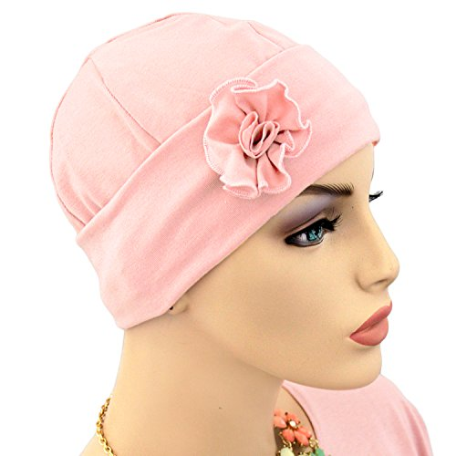 Hats for You Women's Flapper Chemo Cap with Flower, Pink, One Size]()