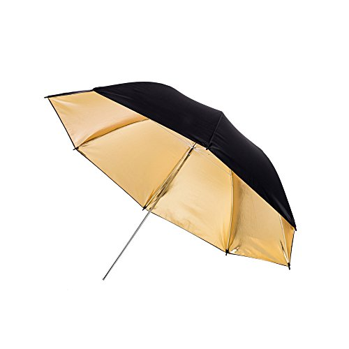 Fovitec - 1x 43 inch Gold Photography & Video Reflector Umbrella - [Easy Set-up][Lightweight][Cast-Iron][Collapsible][Durable Nylon] by Fovitec