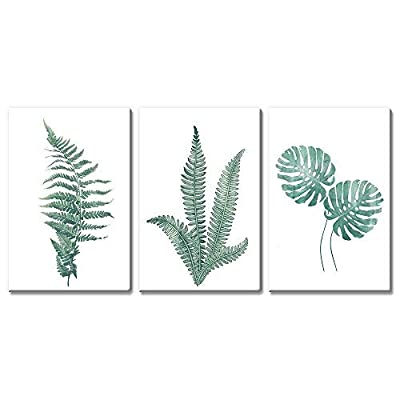 3 Panel Canvas Wall Art - Watercolor Style Tropical Plants - Giclee Print Gallery Wrap Modern Home Art Ready to Hang - 24