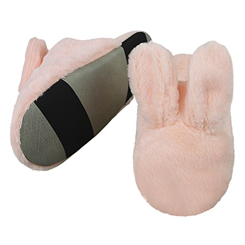 Bunny Fluffy Slippers, Men Women Warm Fleece House Indoor Slippers Clog Mule Skid-proof Sole Footwear Home Shoes with Warm Lining Pink