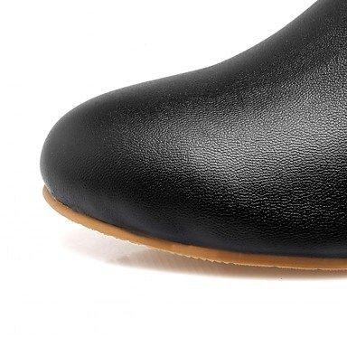Heart&M Mujer Zapatos Semicuero Primavera Invierno Botas de Moda Botas Tacón Robusto Dedo redondo Botines Hasta el Tobillo Lunares Para Casual white