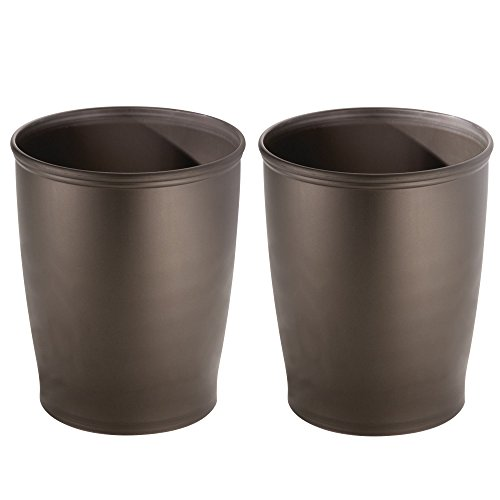 mDesign Round Shatter-Resistant Plastic Small Trash Can Wast