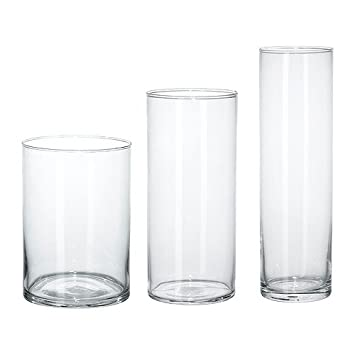 Ikea Cylinder Vase Set Of 3 Clear Glass Amazon Co Uk Kitchen Home