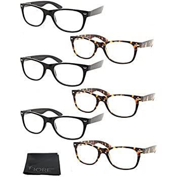 Fiore® 6 Pack Spring Hinges Wayfarer Reading Glasses (6 Pack Clear, 1.75)