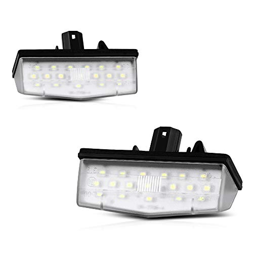 (VIPMOTOZ Full LED License Plate Light Lamp Assembly Replacement For Toyota Prius V Plug-In Matrix RAV4 Venza Lexus IS300 CT200h Scion tC - 6000K Diamond White, 2-Pieces)