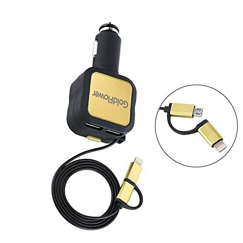Car Charger,GoldFlower 4.8A/24W 2 Smart Port Car Charger with 3ft Long Retractable cord 2 in 1 Charging Connector Compatible to iPhone 6S/6s Plus,Galaxy S6 / S6 Edge Portable(Black-gold) (Iphone Retractable Cord compare prices)