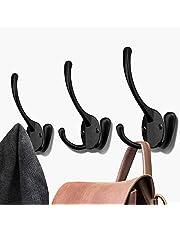 BIGLUFU Heavy Duty kaphaken wandmontage haken voor opknoping jas, hoed, handdoek, sjaal, tas, sleutel, pet, beker (zwart, 5 pack)