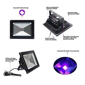 41gb8K6Ci3L. SS300  - UV-Schwarzlicht20W-Violettes-LED-Stadiums-Dekoratives-LichtWechselstrom-85-265V-IP65-Imprgniern-UV-A-Niveau-395-400nm-Wellenlngen-Flut-Licht-fr-Party-Leistung