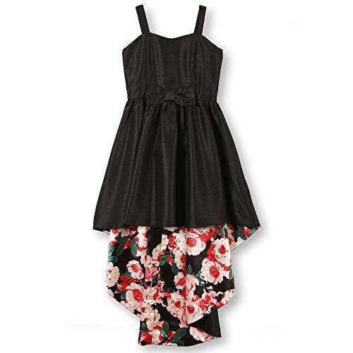 Speechless Girls' Big' 7-16 Taffeta Party Dress with Printed Inner Skirt, Black/Flora, 12
