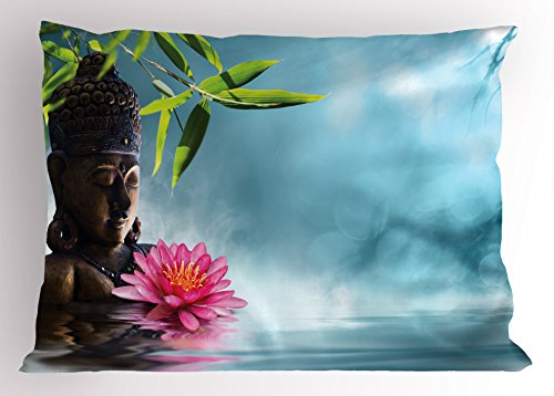 Ambesonne Zen Pillow Sham, Zen Waterlillies Spa Theme Meditation Nature Feng Shui Natural Calm Water, Decorative Standard Queen Size Printed Pillowcase, 30 X 20 inches, Light Blue Green Pink by Ambesonne