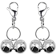 IVIA 4 Sets Cat Bell for Dog Collar Charm TrainingPet Pendant Accessories with 2 Pack Stainless Steel Dog Tag Clips(2 Medium Silver)