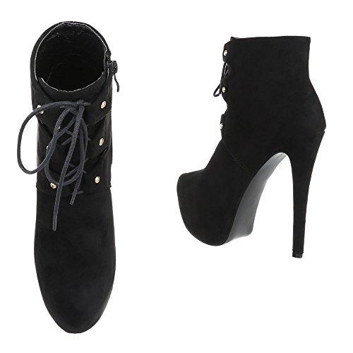 Mujer Design Ital negro Botas plisadas vwzxqpY