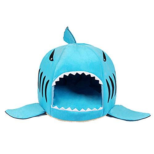 (Spring Fever Shark Pet Dog Cat Bed Round Removable Cushion Waterproof House C_Blue M(20.520.515 inch))
