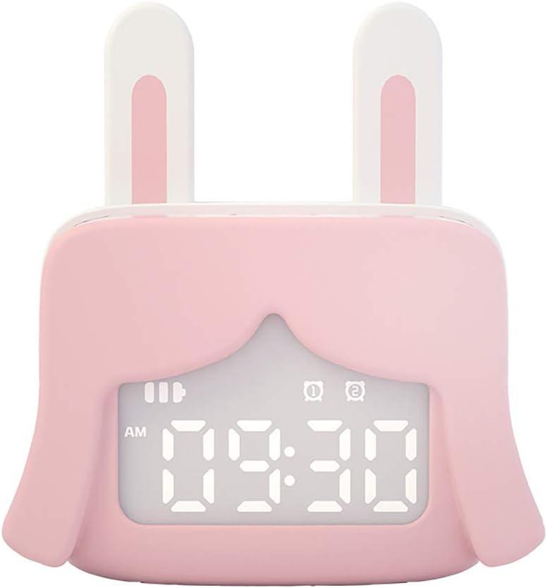 Y-H Mini World Cute Little Alarm Clock Smart Talking Niños Estudiantes con carga multifuncional Lindo Mesita Rosa