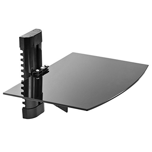Mount Factory - Adjustable Wall Mount / Single Floating Glass DVD Component Shelf - (Dvr Stand)