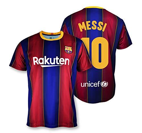 Camiseta Replica FC. Barcelona 1ª EQ Temporada 2020-21 – Producto con Licencia – Dorsal 10 Messi- 100% Poliéster – Talla…