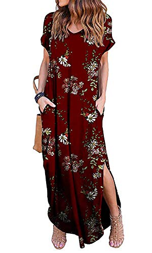 Silvous Backless Floral Maxi Dress Short Sleeves Casual Loose Dresses Ladies (Wine Red L)