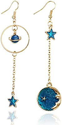 Fashion Women/'s Moon And Star Shape Crystal Rhinestone Gold Plated Stud Earrings