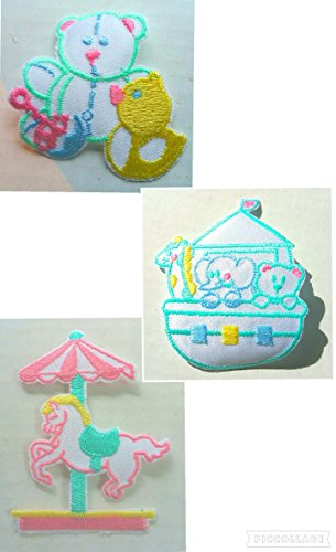 3 pc Baby Patches Set~Patch Noah's Ark, Merry Go Round Carousel Horse, Teddy Bear w/ Duck Blue Pink Yellow Green Iron On Applique Toddler Child Infant ()