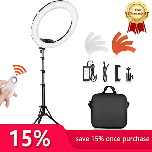 Travor 18 inch Led Ring Light,Camera Photo Video 55W 5500K YouTube Light 240 Dimmable LED Lighting Kit,2M Light Stand,Bluetooth Receiver Work with Camera and Smartphone for Video Shooting by Travor
