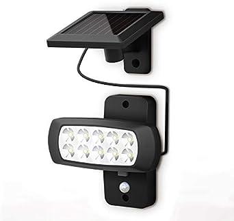 LED Solar Wandleuchte mit Bewegungsmelder Außen Garten Hof Garage rund
