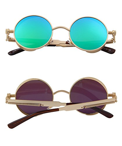d0ac3b2aa7e Ronsou Steampunk Style Round Vintage Polarized Sunglasses Retro ...