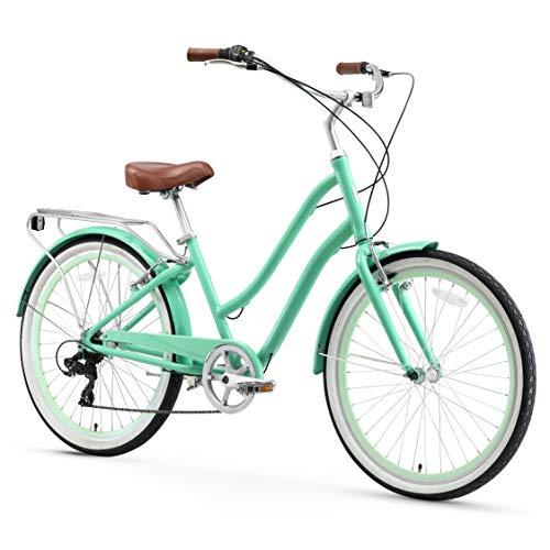 sixthreezero EVRYjourney Womens 7-Speed Step-Through Hybrid Cruiser Bicycle, Mint Green w/Brown Seat/Grips, 26 Wheels/ 17.5 Frame