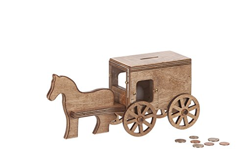 Amish-Made Wooden Toy Horse & Buggy Penny Piggy Bank