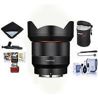 Samyang 14mm F2.8 AF Wide Angle, Full Frame Auto Focus Lens for Canon EF - Bundle With Lens Case, Cleaning Kit, Lens Wrap, Lenspen Lens Cleaner, Capleash II, Mac Software Package